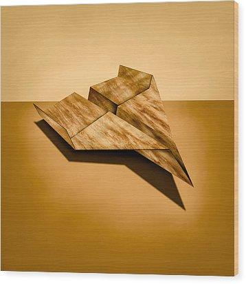 Paper Airplanes Of Wood 5 Wood Print