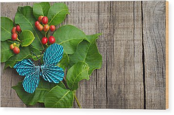 Paper Butterfly Wood Print by Aged Pixel