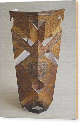 Paper Mask Wood Print by Alfred Ng