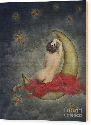 Paper Moon Wood Print by Jelena Jovanovic