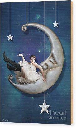 Wood Print featuring the digital art Paper Moon by Linda Lees