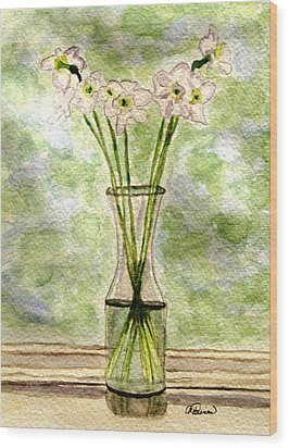 Wood Print featuring the painting Paper Whites In Sunlight by Angela Davies