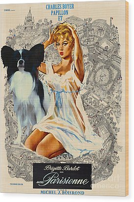 Papillon Art - Una Parisienne Movie Poster Wood Print by Sandra Sij
