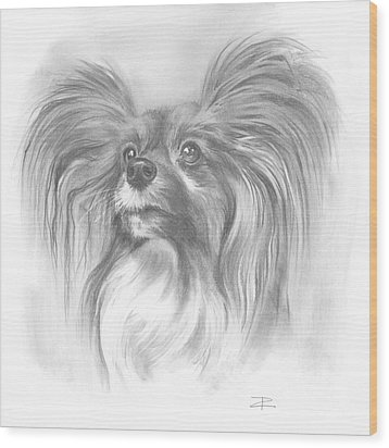 Wood Print featuring the drawing Papillon by Paul Davenport