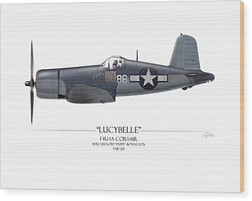 Pappy Boyington F4u Corsair - White Background Wood Print by Craig Tinder
