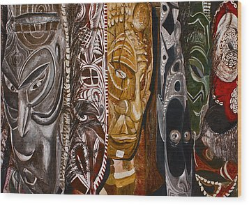 Papua New Guinea Masks Wood Print