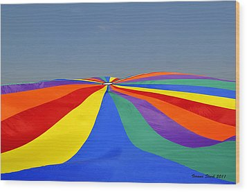 Parachute Of Many Colors Wood Print