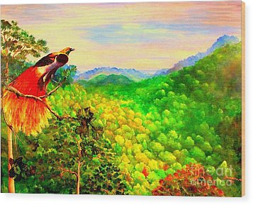Wood Print featuring the painting Paradise Bird Of Papua by Jason Sentuf