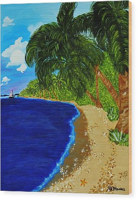 Wood Print featuring the painting Paradise by Celeste Manning