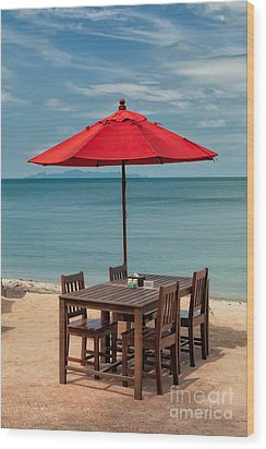 Paradise Dining Wood Print by Adrian Evans