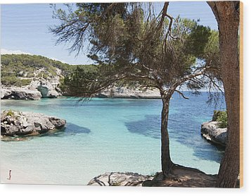 Paradise In Minorca Is Called Cala Mitjana Beach Where Sand Is Almost White And Sea Is A Deep Blue  Wood Print