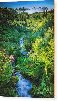 Paradise Stream Wood Print by Inge Johnsson