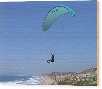 Paraglider Over Sand City Wood Print