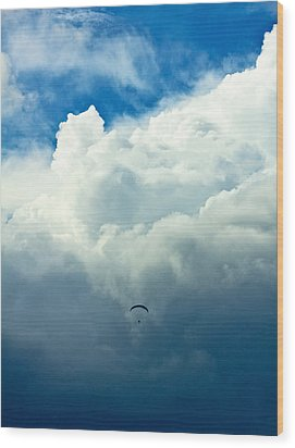 Paragliding In Changing Weather Wood Print by Viacheslav Savitskiy