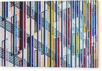 Parallels And Rectangles Wood Print by Adam Pender