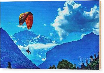 Wood Print featuring the photograph Parasailing Swiss Alps by Joe  Ng