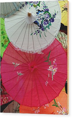 Parasols 1 Wood Print by Rodney Lee Williams
