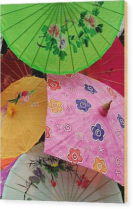 Parasols 2 Wood Print by Rodney Lee Williams