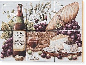 Pardo Vineyards Wine And Cheese Wood Print by Julia Sweda