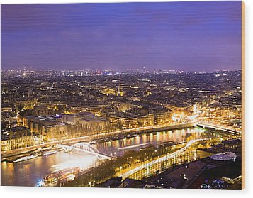 Paris And The River Seine Skyline View At Night Wood Print by Mark E Tisdale