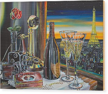 Paris At Sunset Wood Print by Anthony Mezza