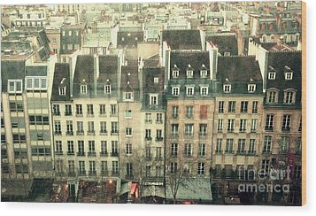 Paris Beaubourg Wood Print by Louise Fahy
