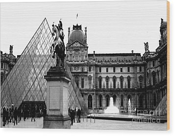 Paris Black And White Photography - Louvre Museum Pyramid Black White Architecture Landmark Wood Print by Kathy Fornal