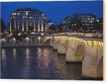 Paris Blue Hour - Pont Neuf Bridge And La Samaritaine Wood Print by Georgia Mizuleva