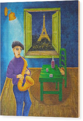 Paris Blues Wood Print by Pamela Allegretto