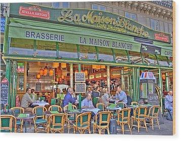 Paris Cafe In Summer Wood Print by Matthew Bamberg