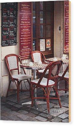 Paris Cafe Wood Print by John Rizzuto
