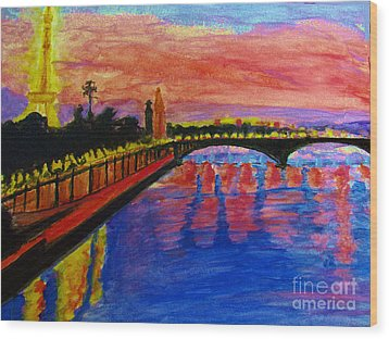 Paris City Of Lights At Dusk Wood Print