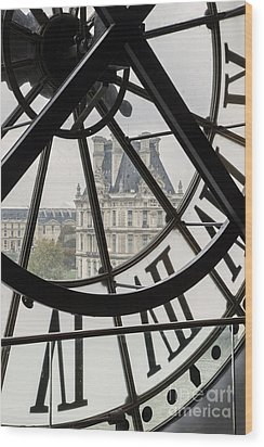 Paris Clock Wood Print by Brian Jannsen