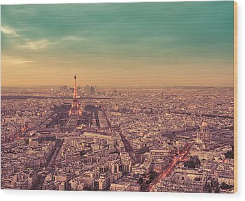 Paris - Eiffel Tower And Cityscape At Sunset Wood Print by Vivienne Gucwa