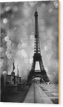 Paris Eiffel Tower Surreal Black And White Photography - Eiffel Tower Bokeh Surreal Fantasy Night  Wood Print by Kathy Fornal