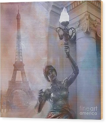 Paris Eiffel Tower Surreal Fantasy Montage Wood Print by Kathy Fornal