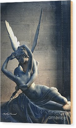 Paris Eros And Psyche Romantic Lovers - Paris In Love Eros And Psyche Louvre Sculpture  Wood Print by Kathy Fornal
