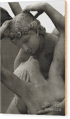 Paris - Eros And Psyche Romantic Sculpture Wood Print by Kathy Fornal