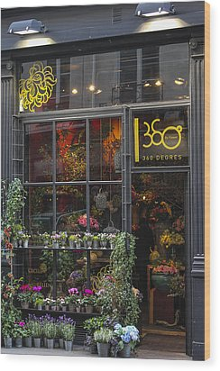 Paris Flower Shop Wood Print by Glenn DiPaola