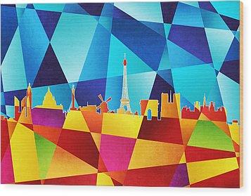 Paris France Skyline Wood Print by Michael Tompsett