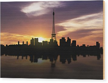 Paris France Sunset Skyline  Wood Print by Aged Pixel
