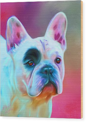 Vibrant French Bull Dog Portrait Wood Print by Michelle Wrighton