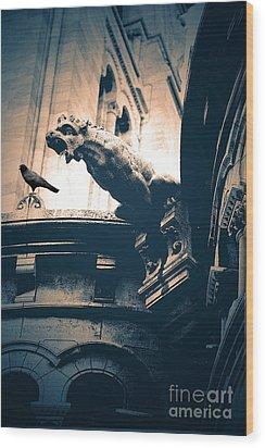 Paris Gargoyles - Gothic Paris Gargoyle With Raven - Sacre Coeur Cathedral - Montmartre Wood Print by Kathy Fornal