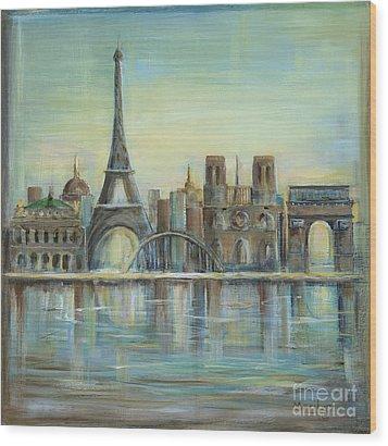 Paris Highlights Wood Print by Marilyn Dunlap