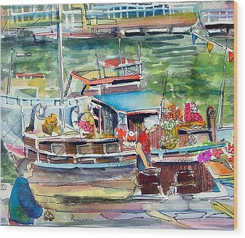 Paris House Boat Wood Print by Mindy Newman