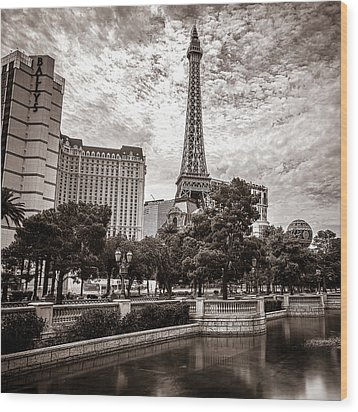 Paris Las Vegas Wood Print