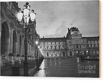 Paris Louvre Museum Lanterns Lamps - Paris Black And White Louvre Museum Architecture Wood Print by Kathy Fornal