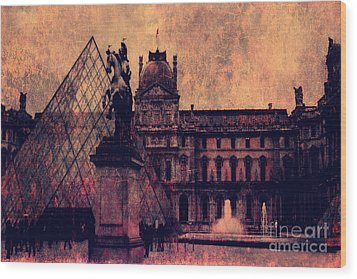 Paris Louvre Museum - Musee Du Louvre - Louvre Pyramid  Wood Print by Kathy Fornal