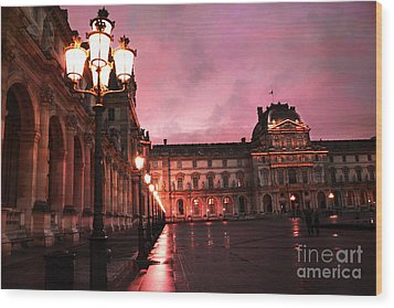 Paris Louvre Museum Night Architecture Street Lamps - Paris Louvre Museum Lanterns Night Lights Wood Print by Kathy Fornal