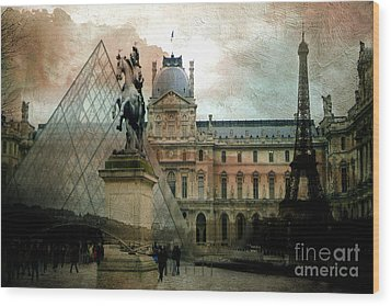 Paris Louvre Museum Pyramid Architecture - Eiffel Tower Photo Montage Of Paris Landmarks Wood Print by Kathy Fornal